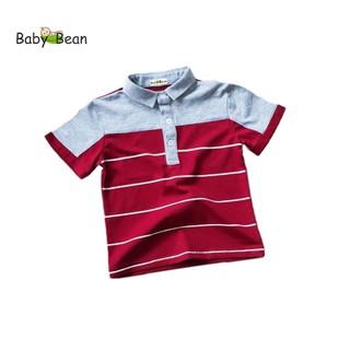 Áo thun Cotton có Cổ Sọc Ngang tay ngắn bé trai BabyBean