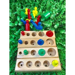 Đồ chơi gỗ thông minh Set 4 bộ núm trụ Montessori