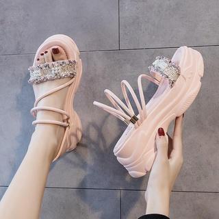 ℡▫♗Giày sandal đế xuồng tăng chiều cao thời trang trẻ trung