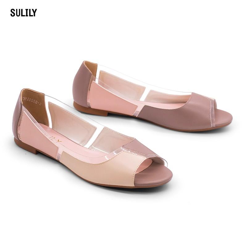 Giày Búp Bê Mix 4 Màu Sulily B01-IV17XAMHONG