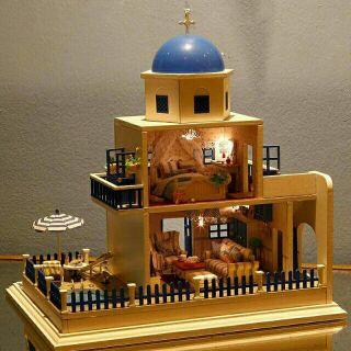 Kèm mica – Mô hình nhà gỗ búp bê dollhouse DIY – A026 Santorini