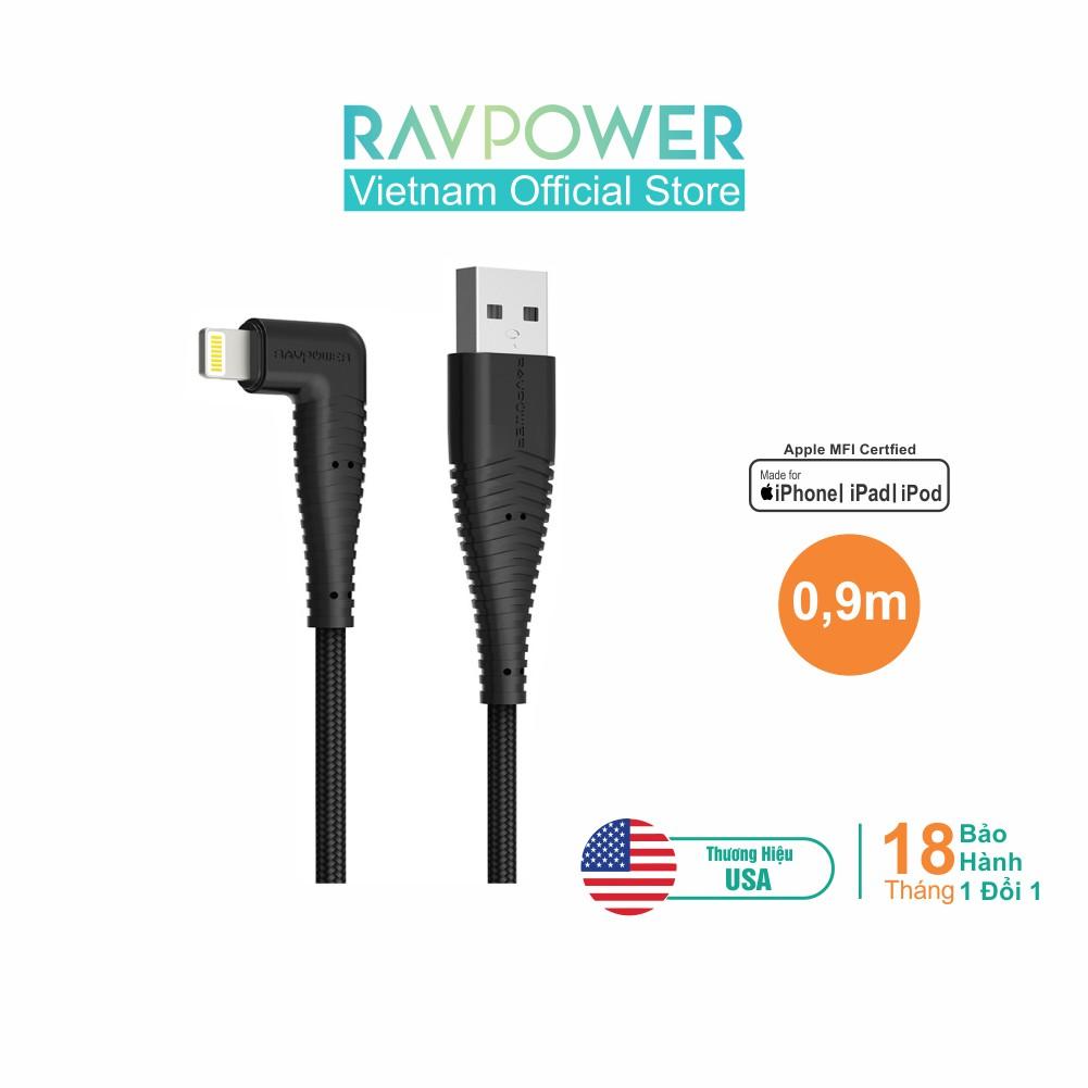 Dây Cáp Sạc Lightning Cho iPhone, iPad RAVPower 0.9m, Chứng nhận MFI - RP-