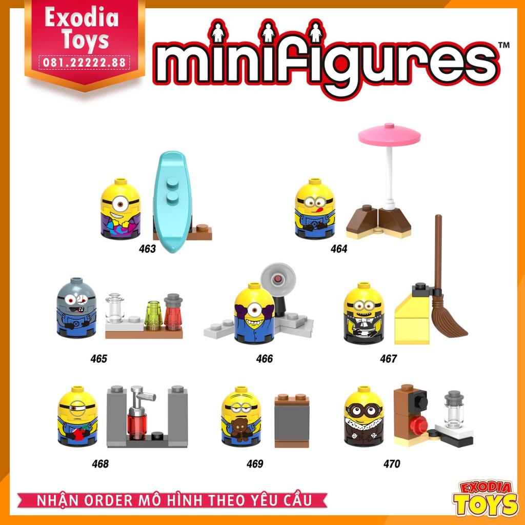 Bộ 8 minifigure nhân vật Minions ngộ nghĩnh - Hoạt hình Kẻ Trộm Mặt Trăng - X0141