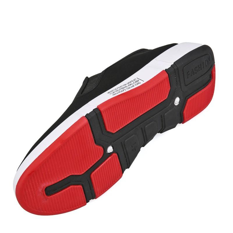 Giày Lười Vải Nam Đen Cao Cấp Thoáng Khí Đế 3CM Viền Đỏ Sành Điệu Cao Su Nhẹ Êm Tôn Dáng - 3156