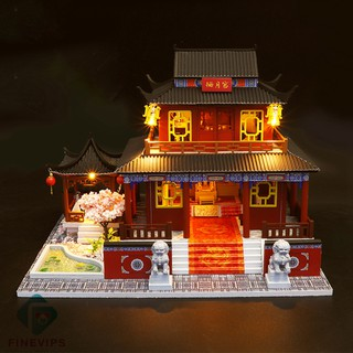 [COD]Ready Stock DIY Miniature Doll House with Furniture Accessory Chinese Palace No Dust Cover