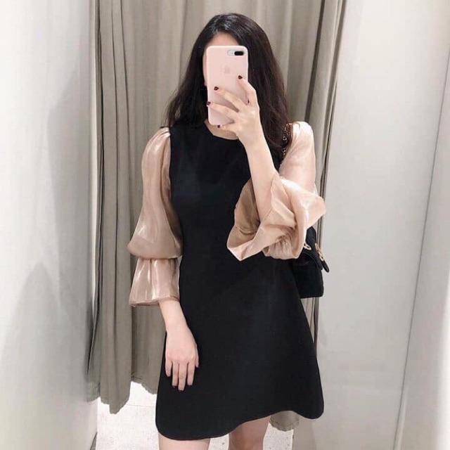 Đầm đen phối tay dài ánh kim