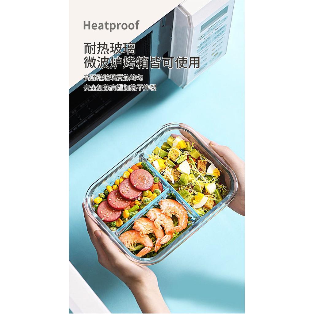 Hộp cơm thủy tinh chịu nhiệt chia ngăn Nhật Bản, có 4 khóa đóng kín, van xả hơi,hộp thủy tinh đựng thực phẩm