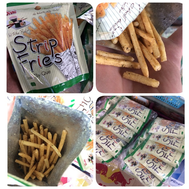  4 Snack Oishi   Snack Khoai Tây Que vị tảo biển Strip Fries 27g