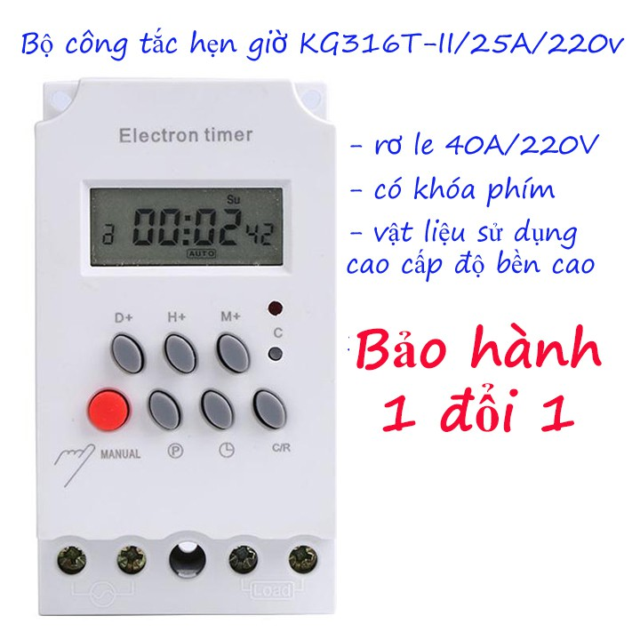 Công tắc hẹn giờ Kg316 T-II/ 25A 16 chương trình bật tắt thiết bị điện có khóa phím