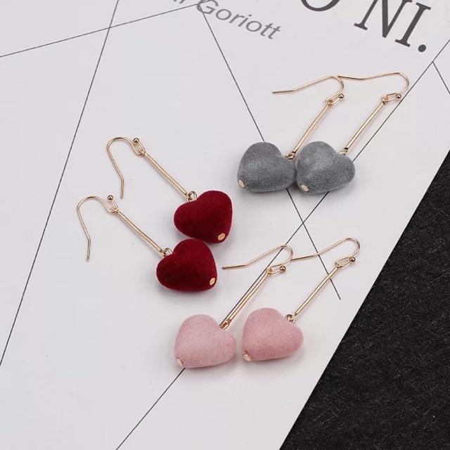 Khuyên tai dài treo trái tim 2 màu đỏ, hồng