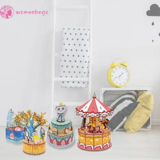 WB✿ DIY Wood Music Box Carousel Birthday Gift Toy with Machine Core Home Decor