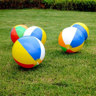 PST_23cm Colorful Inflatable Beach Ball for Swimming Pool Holiday Game Summer Kids Toy