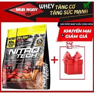Whey Tăng Cơ Bắp To – Dày và Tăng Sức Mạnh – Nitro Tech 10lbs (4.5kg) Vị Chocolate.