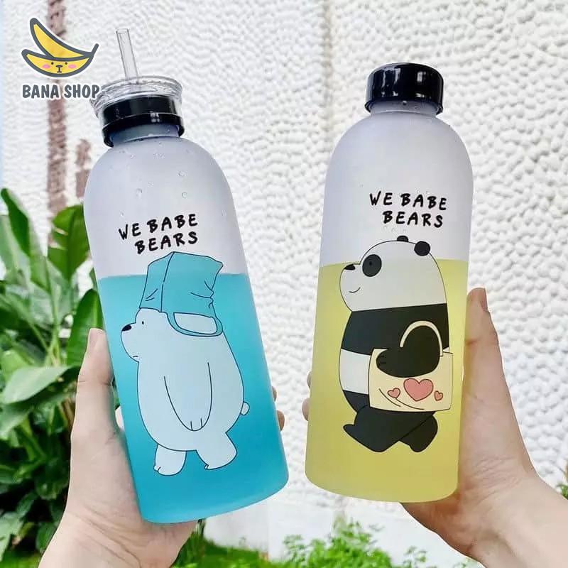 Set bình đựng nước nhựa We Bare Bears Chúng tôi đơn giản là gấu 1000ml