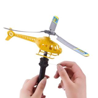 Plastic Hand Power Helicopter Toy Flying by Pull Rope Sky Plane Aircraft Toy Children Kids Outdoor