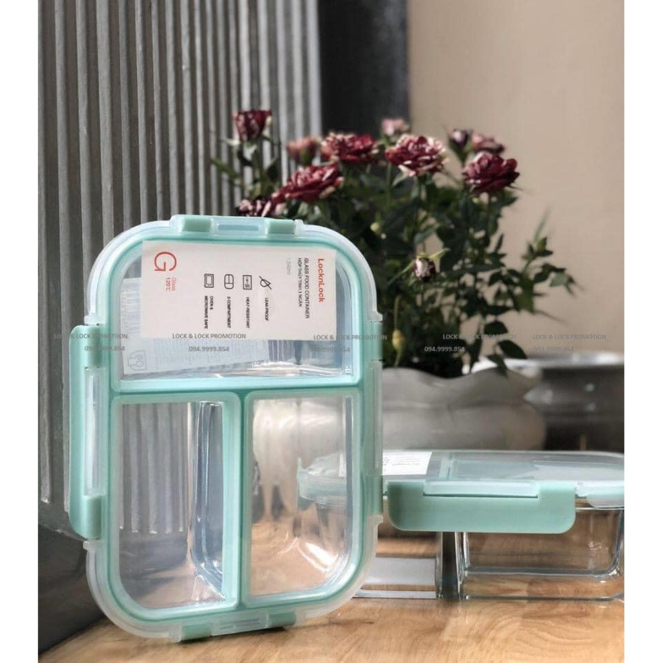 Hộp thủy tinh 3 ngăn Lock&Lock Glass Food Container dung tích 1040ml