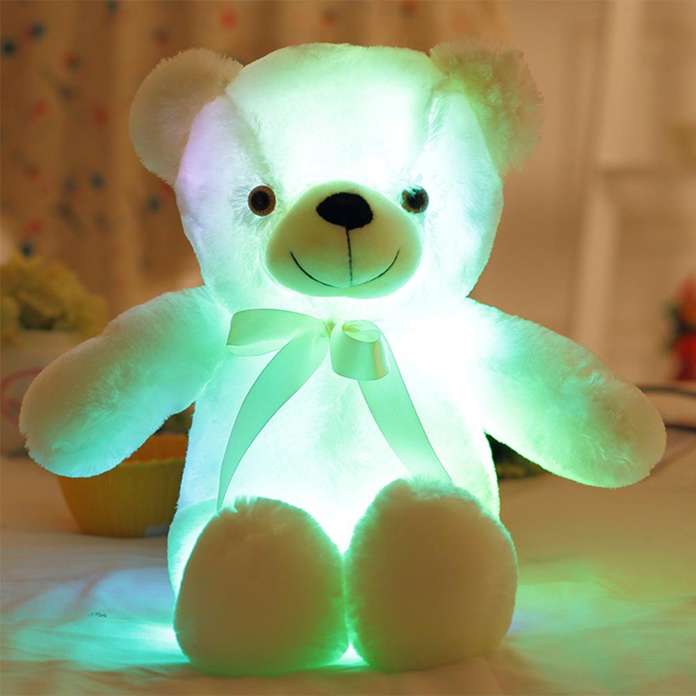 Colorful Stuffed Soft Kids Light Up Gifts Glowing Led Plush Toy Teddy Bear Tie Animal