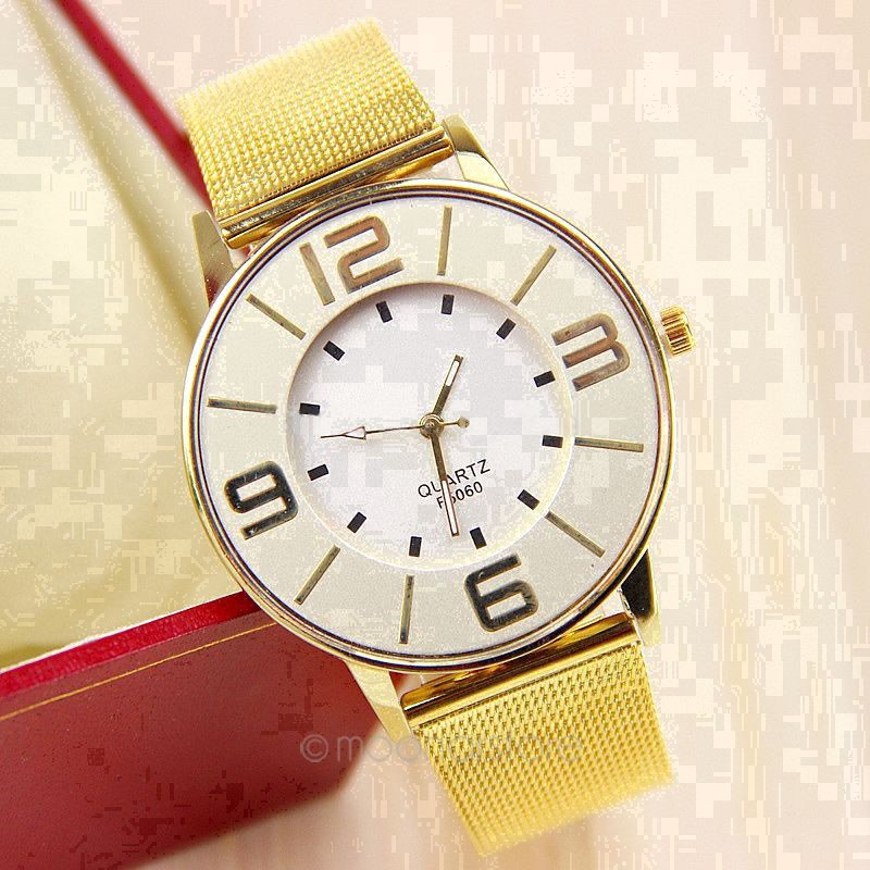 Women Watch Gold Bling Stainless Steel Quartz Large Dial Number Wrist