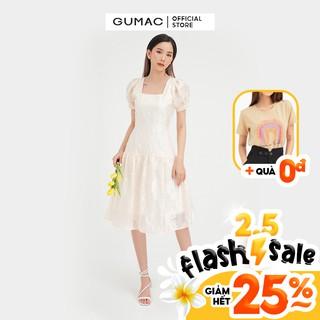 [Mã WABRGU15 giảm 15% tối đa 50k đơn từ 149k] Đầm suông nữ cổ vuông GUMAC thiết kế váy nhún tùng màu kem đủ size DB4100 thumbnail
