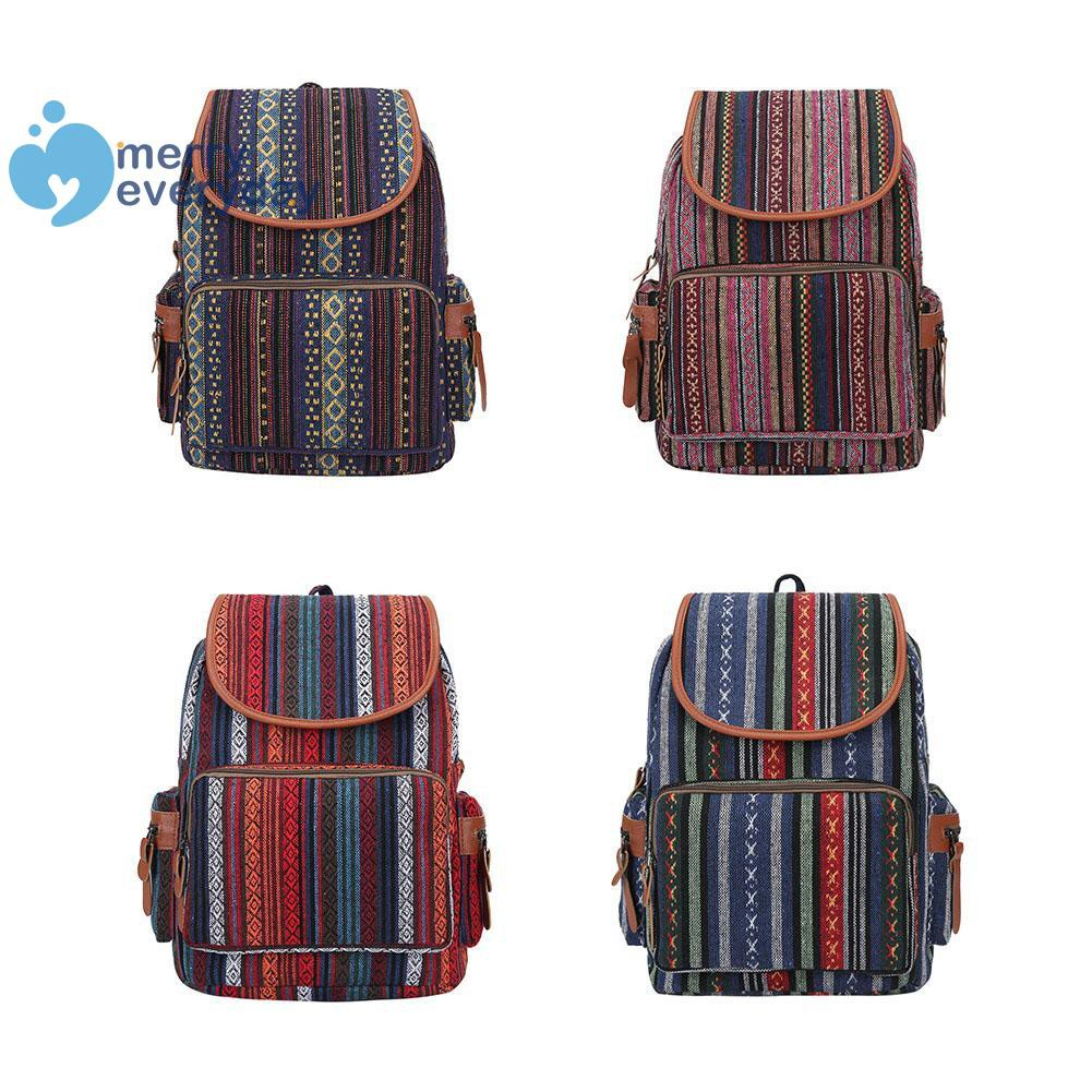 ❉mer❉Boho Ethnic Travel Backpack Women Large Capacity Canvas Shoulder Schoolbags
