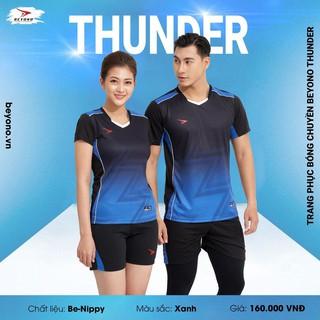 Bộ Thể Thao Nam Nữ – Bộ Bóng Chuyền Beyono Thunder [Chính Hãng] – Kiểu Áo Phông Form Regular Fit – Màu Xanh Đen
