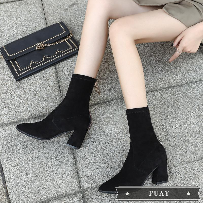 &Ins net red thin boots women 2019 new autumn wild England wind thick with short boots fashion high heel socks boots #