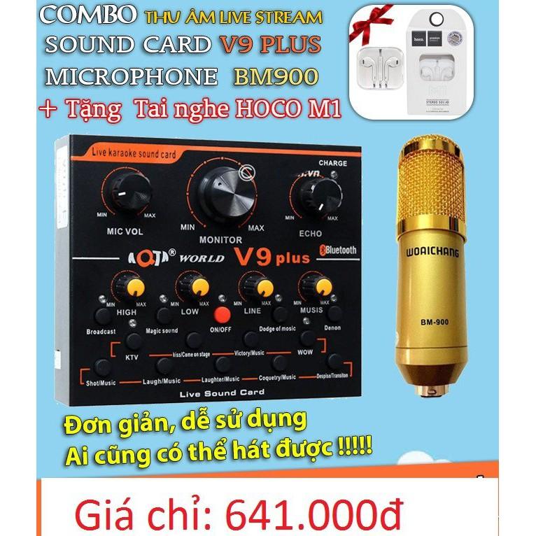 [TẶNG KÈM TAI NGHE]Soundcard V9 Plus kết hợp micro BM900 thu âm,livetream,hát karaoke chuyên nghiệp-âm thanh đẳng cấp