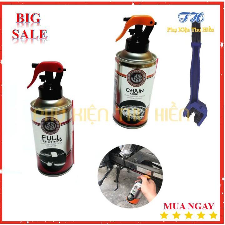 Combo 3 Món 1 Chai vệ sinh sên MegaCools Full Penetrate + 1 Chai dưỡng sên MegaCools Chainlube + 1 Bàn chải chà sên
