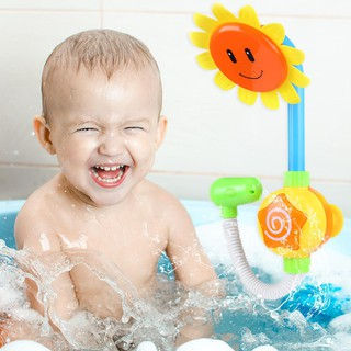 ★Lp★Baby Water Game Bathing Tub Toy Electric Sunflower Shower Faucet Spray Toys