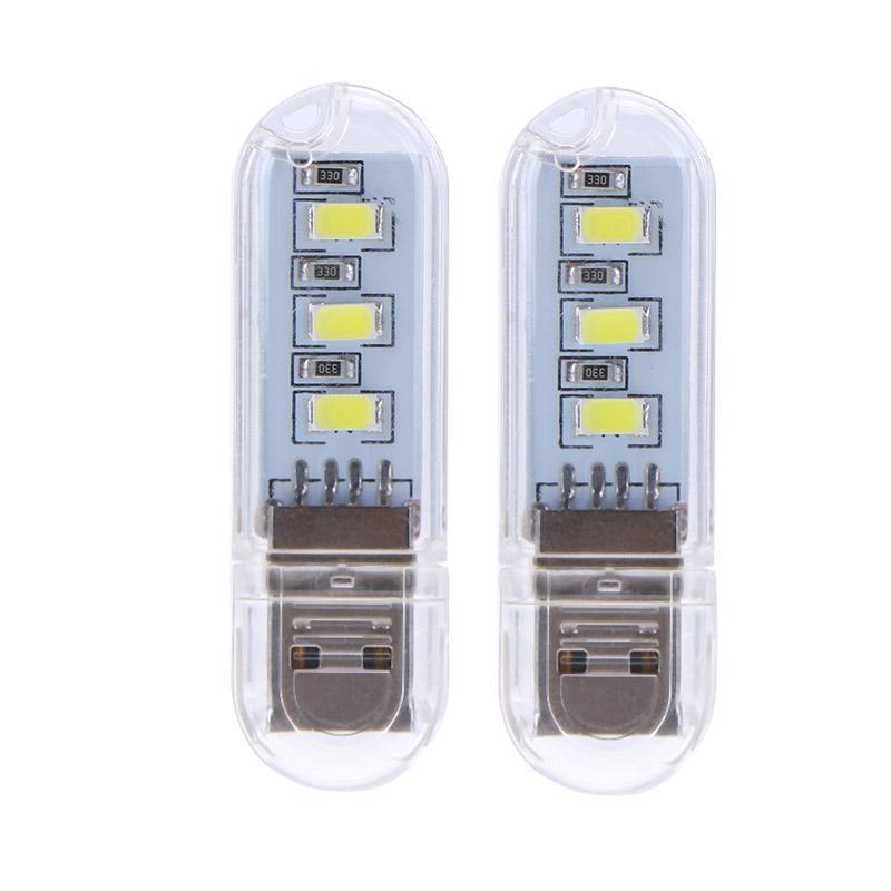QC♉2pcs U Disk Shape LED USB Night Light Portable Mini Computer Lamp