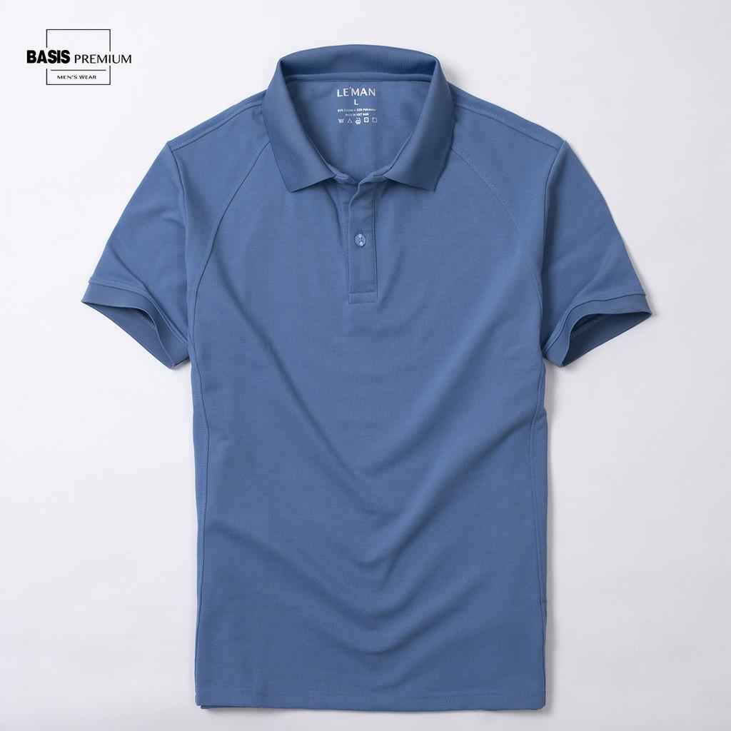 Áo polo nam màu xanh coban trơn phối gân dọc đơn giản, tinh xảo Basis APL37-XANHCOBAN