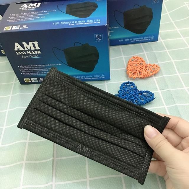 Hộp 50 cái khẩu trang y tế AMI 4 lớp đạt tiêu chuẩn ISO 9001/AMI ECO MASK Super Carbon