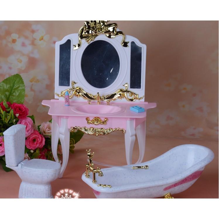 Bộ đồ chơi bồn tắm nhà vệ sinh, nội thất cho búp bê Barbie,búp bê Xinyi,búp bê Licca,sản phẩm không bao gồm búp bê
