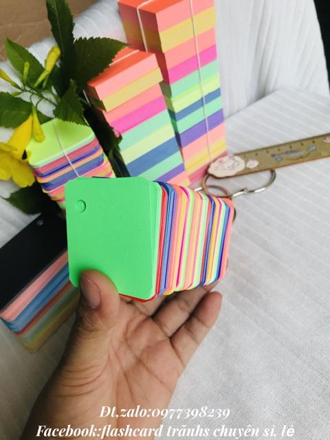 Flashcard 100 thẻ học từ vựng anh nhật trung hàn flashcard mix màu khổ vuông 4.5cm siêu
