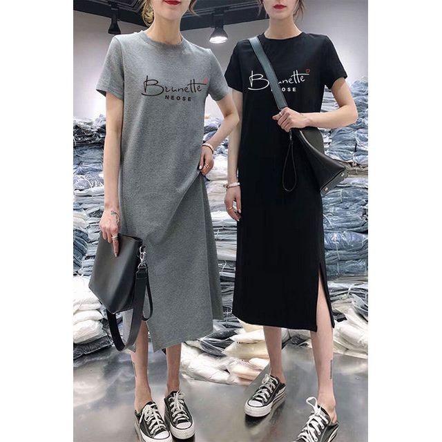 5824854626 - Váy xuông dáng dài đầm cotton xuông tay ngắn phối chữ - Hàng Quảng Châu chất lượng có video thật tại shop