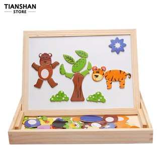 Wooden Animal Puzzles Double Side Magnetic Painting Board Toy