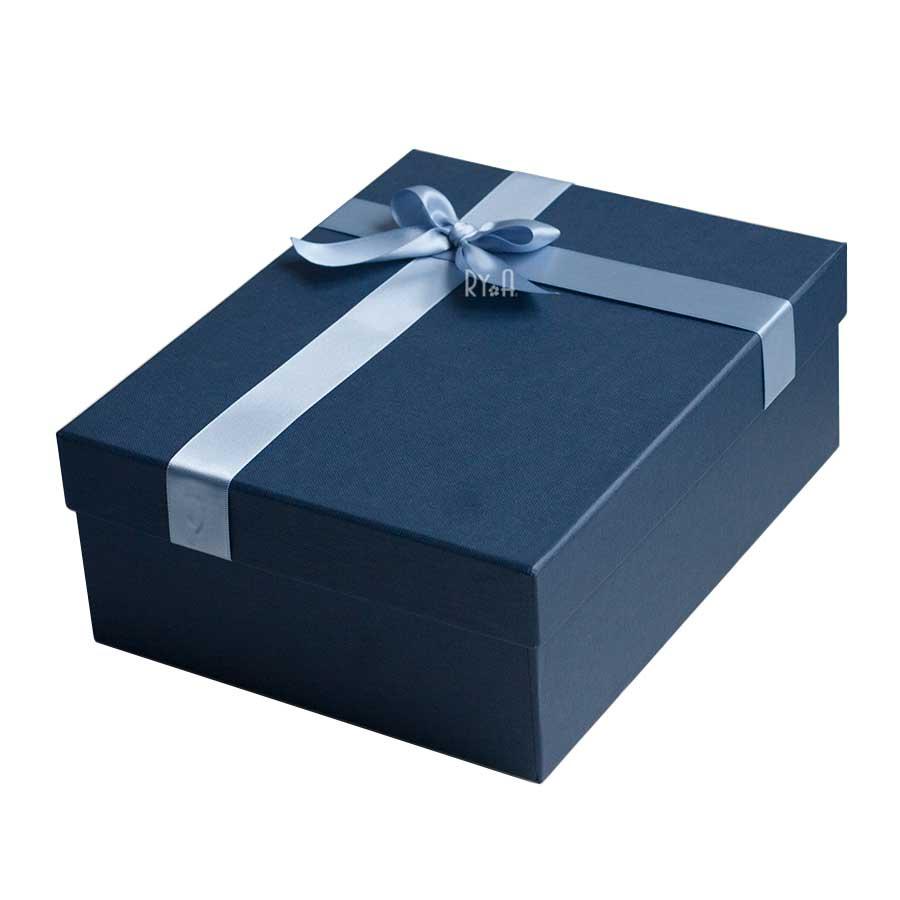 Hộp quà lớn đính nơ 24x19x9cm (xanh đậm nơ xanh nhạt) 290511
