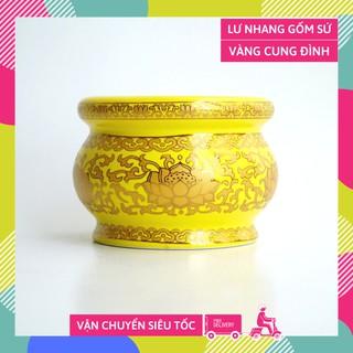 Lư hương bát nhang thờ cúng gốm sứ vàng cung đình - Cao 7cm thumbnail