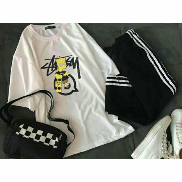 [COMBO TIẾT KIỆM] Áo Simpson + quần 3 sọc + túi caro unisex