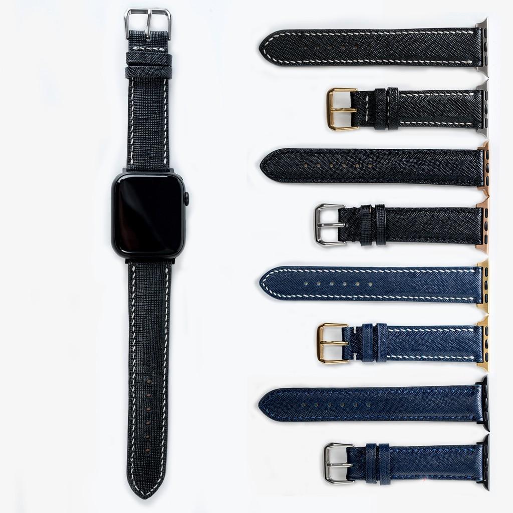 Dây apple watch da saffiano cao cấp - khâu tay thủ công - dây apple watch series 3 series 4 series 5 Bụi leather