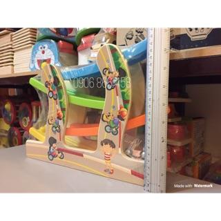 Cầu trượt ô tô 4 tầng – đồ chơi gỗ – hình thật