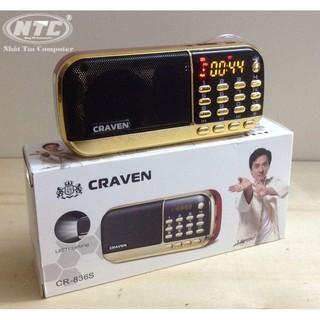 Loa đa năng Craven CR-836s FM/Thẻ nhớ/USB/Tai nghe/Đèn Pin - dung lượng 4400mah (Đen đỏ)