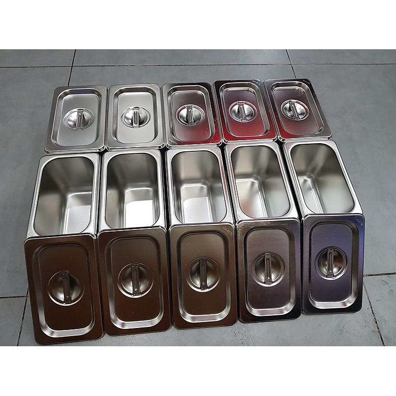 Combo 5 Bộ Khay Inox Đựng Thạch Trà Sữa, Topping GN 1/9 Các Size (Có Nắp)