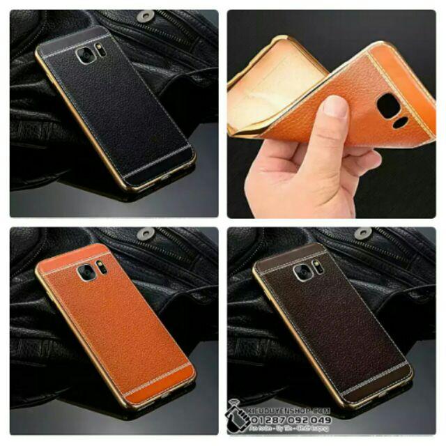 Samsung Galaxy S7 ốp lưng dẻo vân da viền vàng