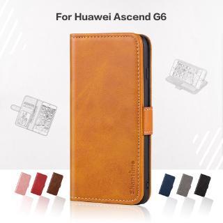 Bao da điện thoại nắp lật sang trọng dạng ví có ngăn đựng thẻ cho Huawei Ascend G6