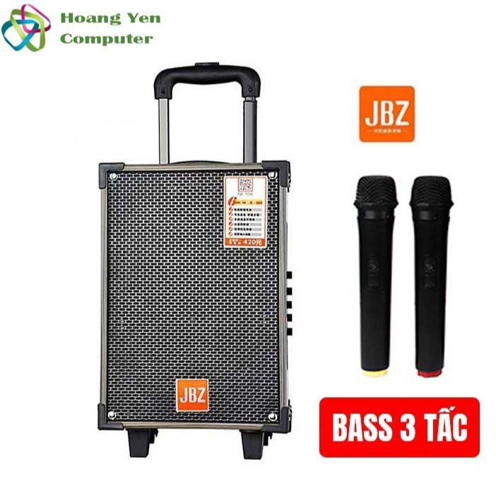 [Tặng 2 MICRO] Loa kéo Karaoke Bluetooth JBZ NE109 Bass 3 tấc, remote - BH 6 tháng