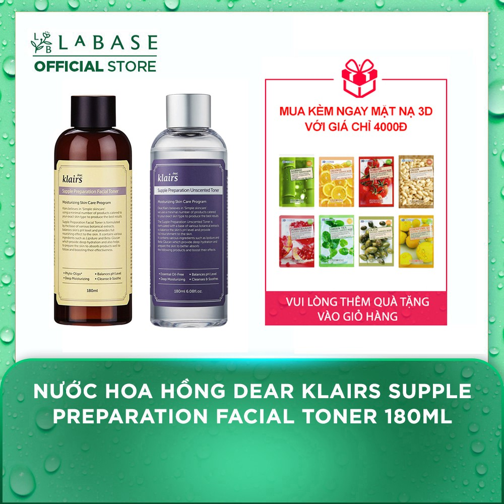 Nước hoa hồng Dear Klairs Supple Preparation Facial Toner 180ml