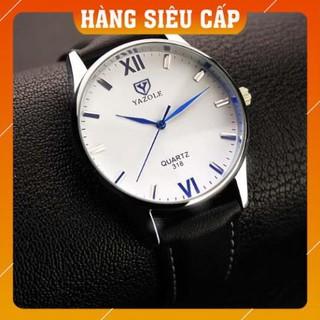 [CAO CẤP] Đồng hồ nam Yazole 318 dây da (Trắng Nâu)