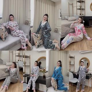 Đồ bộ mặc nhà pijama tay dài quần dài lua satin giá rẻ