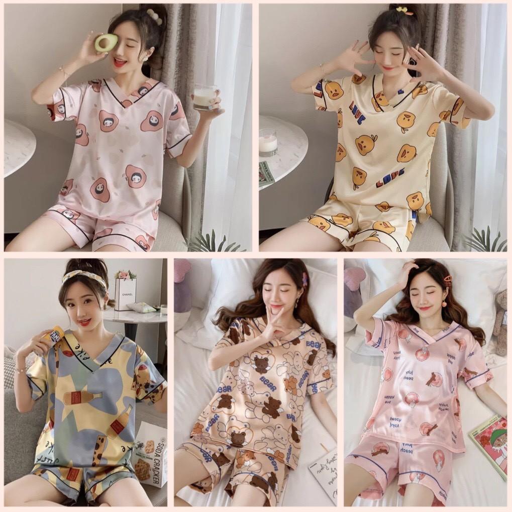 Mặc gì đẹp: [Hàng QC cao cấp] Bộ Pijama Cổ V Cộc Đùi Chất Liệu Lụa Mềm Mịn Thấm Hút Mồ Hôi Họa Tiết Dễ Thương